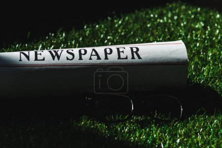 Photo for Close up of rolled newspaper on green grass near glasses - Royalty Free Image