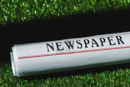 Photo for Close up of rolled newspaper on green grass with shadow - Royalty Free Image