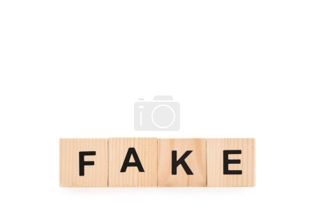 Photo for Black fake word made of wooden blocks isolated on white - Royalty Free Image