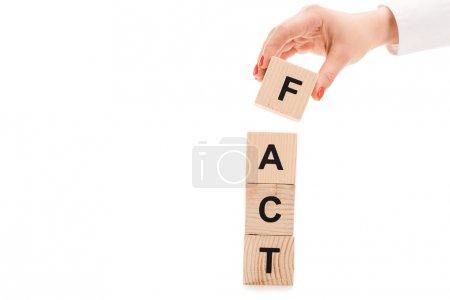 Photo pour Vue recadrée de la main féminine près de blocs de bois avec lettrage de fait isolé sur blanc - image libre de droit