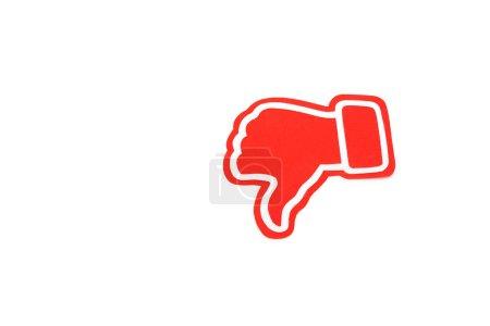 Photo pour Rouge pouce vers le bas signe isolé sur blanc avec espace de copie - image libre de droit