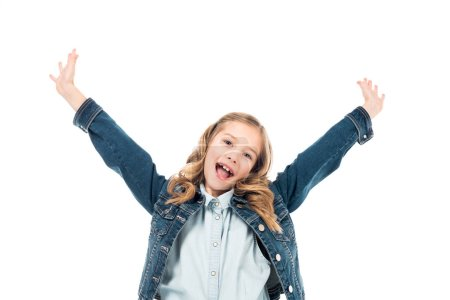 Photo for Excited curly kid in denim jacket waving hands and laughing isolated on white - Royalty Free Image