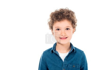 Photo for Front view of curly child in denim shirt looking at camera isolated on white - Royalty Free Image