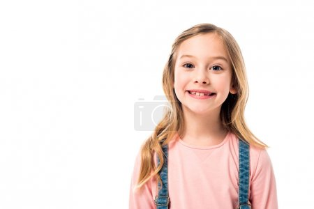 front view of happy smiling child isolated on white