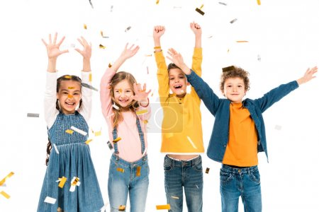 Photo for Four happy kids waving hands under confetti isolated on white - Royalty Free Image