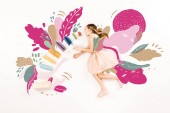 """Постер, картина, фотообои """"top view of cute kid in pink dress flying with open mouth near books on white """""""