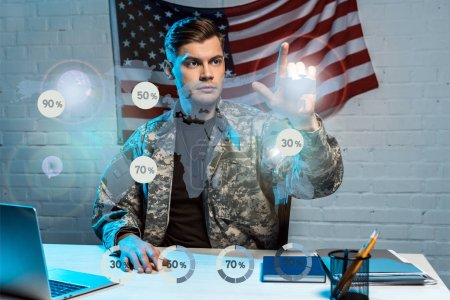 handsome soldier in uniform pointing with finger at percentage diagrams