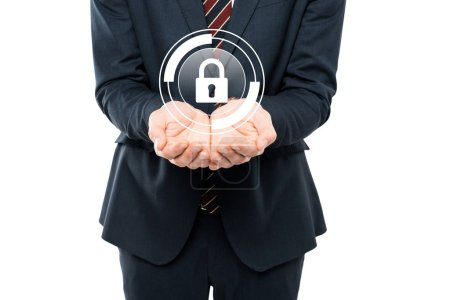 cropped view of businessman with cupped hands near virtual padlock isolated on white