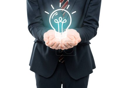 Photo for Cropped view of businessman with cupped hands near light bulb isolated on white - Royalty Free Image