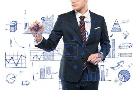Foto de Vista recortada de hombre de negocios sosteniendo pluma marcador cerca de gráficos y gráficos en blanco - Imagen libre de derechos