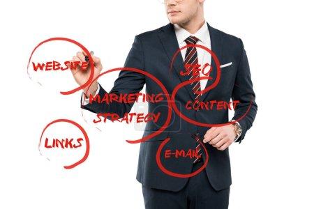 Photo pour Vue recadrée de stylo de marqueur de fixation d'homme d'affaires près du lettrage de site Web sur le blanc - image libre de droit