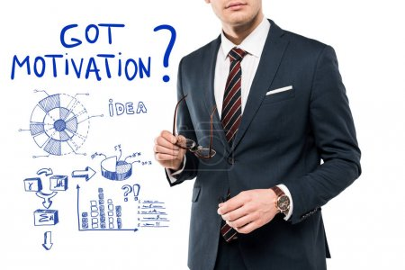 Photo for Cropped view of businessman in suit holding glasses near got motivation lettering on white - Royalty Free Image