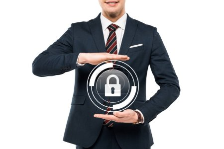 cropped view of businessman in formal wear gesturing near virtual padlock isolated on white