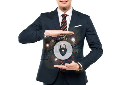 Foto de Cropped view of businessman in formal wear gesturing near virtual padlock with gdpr lettering isolated on white - Imagen libre de derechos