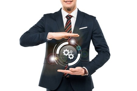 Photo for Cropped view of businessman in formal wear gesturing near virtual cogwheel isolated on white - Royalty Free Image