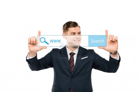 Photo for Positive businessman pointing with fingers at address bar on white - Royalty Free Image