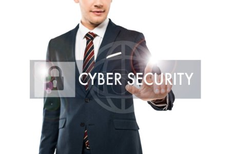 cropped view of happy man in formal wear pointing with finger at cyber security lettering on white