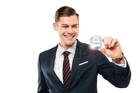 Photo pour Homme d'affaires heureux faisant des gestes et souriant tout en regardant le cadenas avec le lettrage de gdpr dessus tandis que - image libre de droit