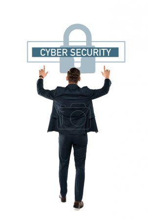 Photo pour Back view of businessman pointing with fingers at cyber security lettering while standing isolated on white - image libre de droit