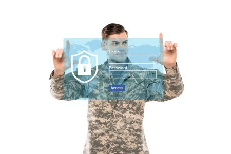 handsome man in military uniform pointing with fingers near virtual padlock with lettering on white