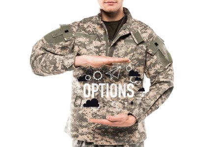 Photo pour Homme de vue recadrée dans l'uniforme militaire faisant des gestes près des options de lettrage sur le blanc - image libre de droit