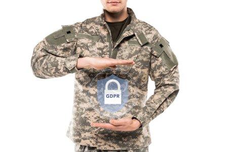 Photo pour Homme de vue recadrédans l'uniforme militaire touchant le cadenas virtuel avec le lettrage de gdpr isolé sur le blanc - image libre de droit