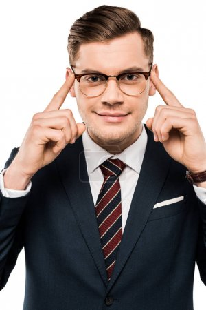 Photo for Smiling businessman pointing with fingers at glasses isolated on white - Royalty Free Image