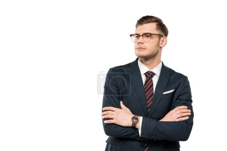 Photo for Handsome businessman standing with crossed arms isolated on white - Royalty Free Image
