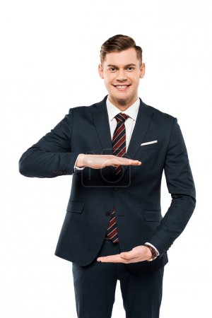 Photo for Cheerful businessman gesturing and looking at camera isolated on white - Royalty Free Image