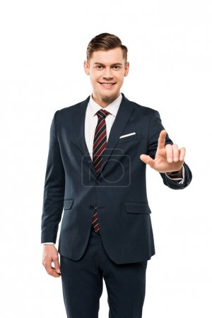 Photo for Positive businessman pointing with finger isolated on white - Royalty Free Image