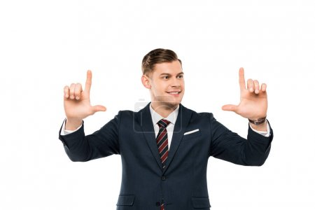 Photo for Positive businessman pointing with fingers isolated on white - Royalty Free Image