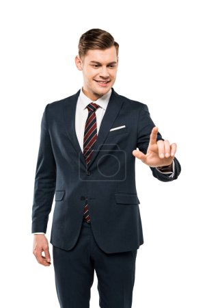 Photo for Happy man in formal wear pointing with finger isolated on white - Royalty Free Image