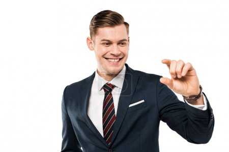 Photo for Happy businessman gesturing and smiling isolated on while - Royalty Free Image