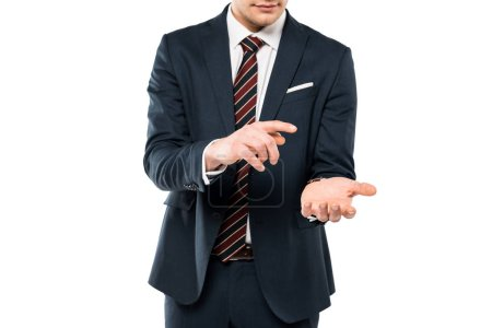 Photo for Cropped view of man in suit pointing with finger at hand isolated on white - Royalty Free Image