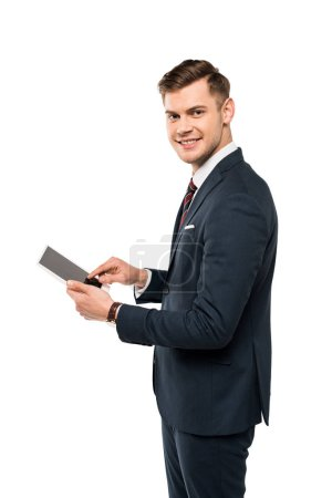 cheerful businessman using digital tablet with blank screen isolated on white