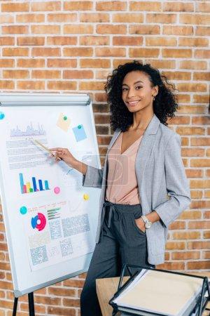 Foto de Afroamericano mujer de negocios casual señalando a flipchart durante la presentación en la oficina de loft - Imagen libre de derechos