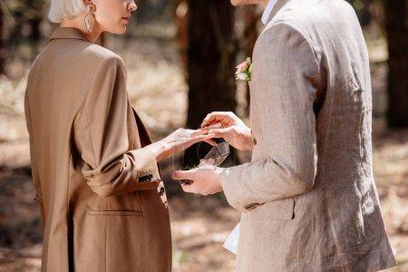 Photo pour Vue partielle de l'homme mettant sur l'anneau de mariage sur l'doigt de femme dans la forêt - image libre de droit