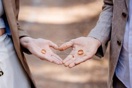 Foto de Vista recortada del novio y el novio sosteniendo anillos de boda - Imagen libre de derechos