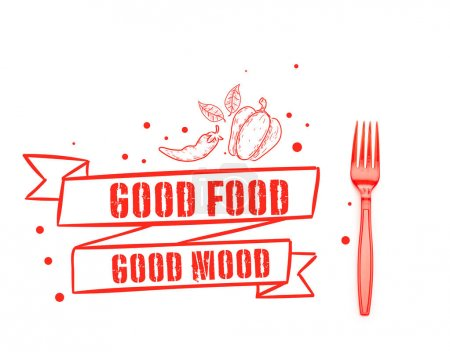 Photo for Red plastic bright fork near good food good mood lettering isolated on white - Royalty Free Image