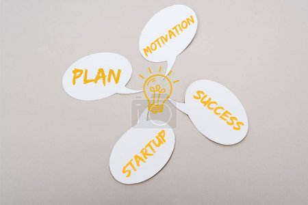 Foto de White speech bubbles with yellow plan, startup, motivation and success words near light bulb illustration on grey background - Imagen libre de derechos