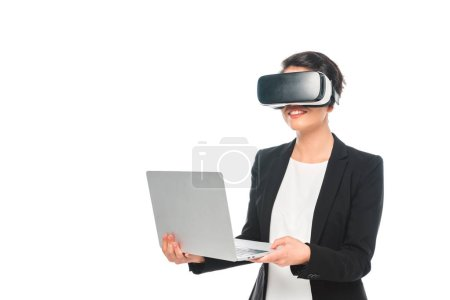 Photo for Smiling mixed race businesswoman using virtual reality headset isolated on white - Royalty Free Image