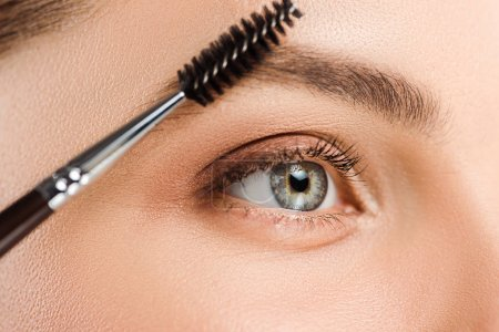 Photo for Cropped view of woman holding eyebrow brush near eyebrow - Royalty Free Image