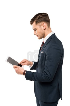 Photo for Handsome businessman pointing with finger at digital tablet isolated on white - Royalty Free Image