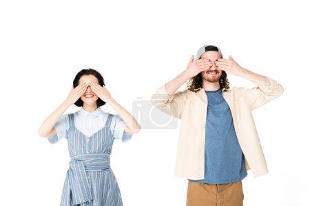 Photo pour Deux personnes fermant les yeux avec des mains isolées sur le blanc - image libre de droit