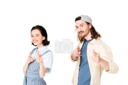 Photo for Two people pointing with fingers at camera isolated on white - Royalty Free Image