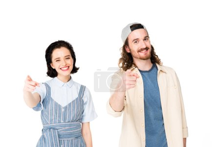 Photo pour Two people smiling and pointing with fingers at camera isolated on white - image libre de droit
