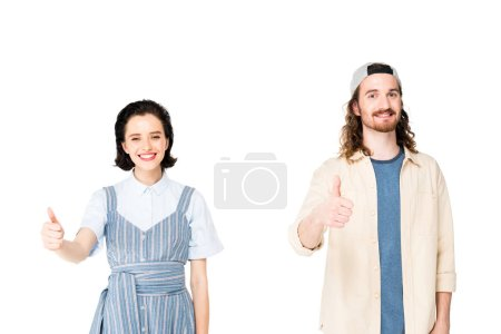 Photo pour Young man and girl showing thumbs up at camera isolated on white - image libre de droit