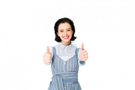 Photo for Beautiful girl showing thumbs up isolated on white - Royalty Free Image