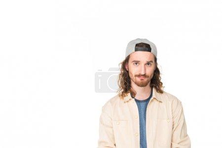 Photo pour Jeune homme confus regardant la caméra d'isolement sur le blanc - image libre de droit