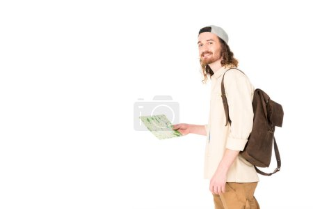 young man holding map and looking at camera isolated on white